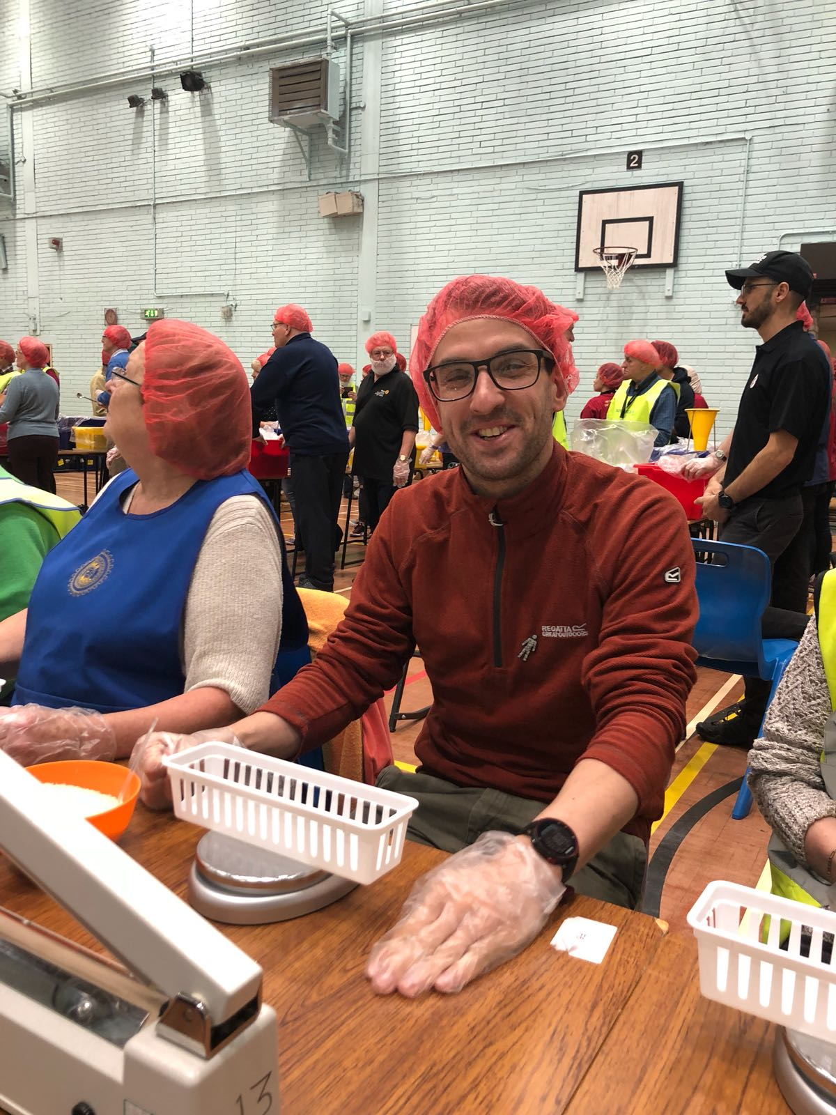 rotary club - gail and gareth pack meals
