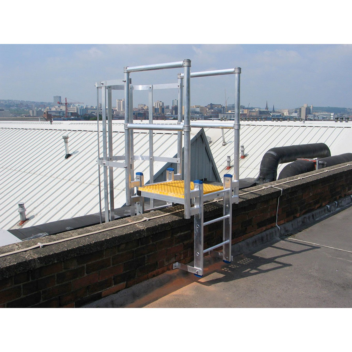 Fixed Vertical Ladder With Safety Cage Walkthrough Parapet