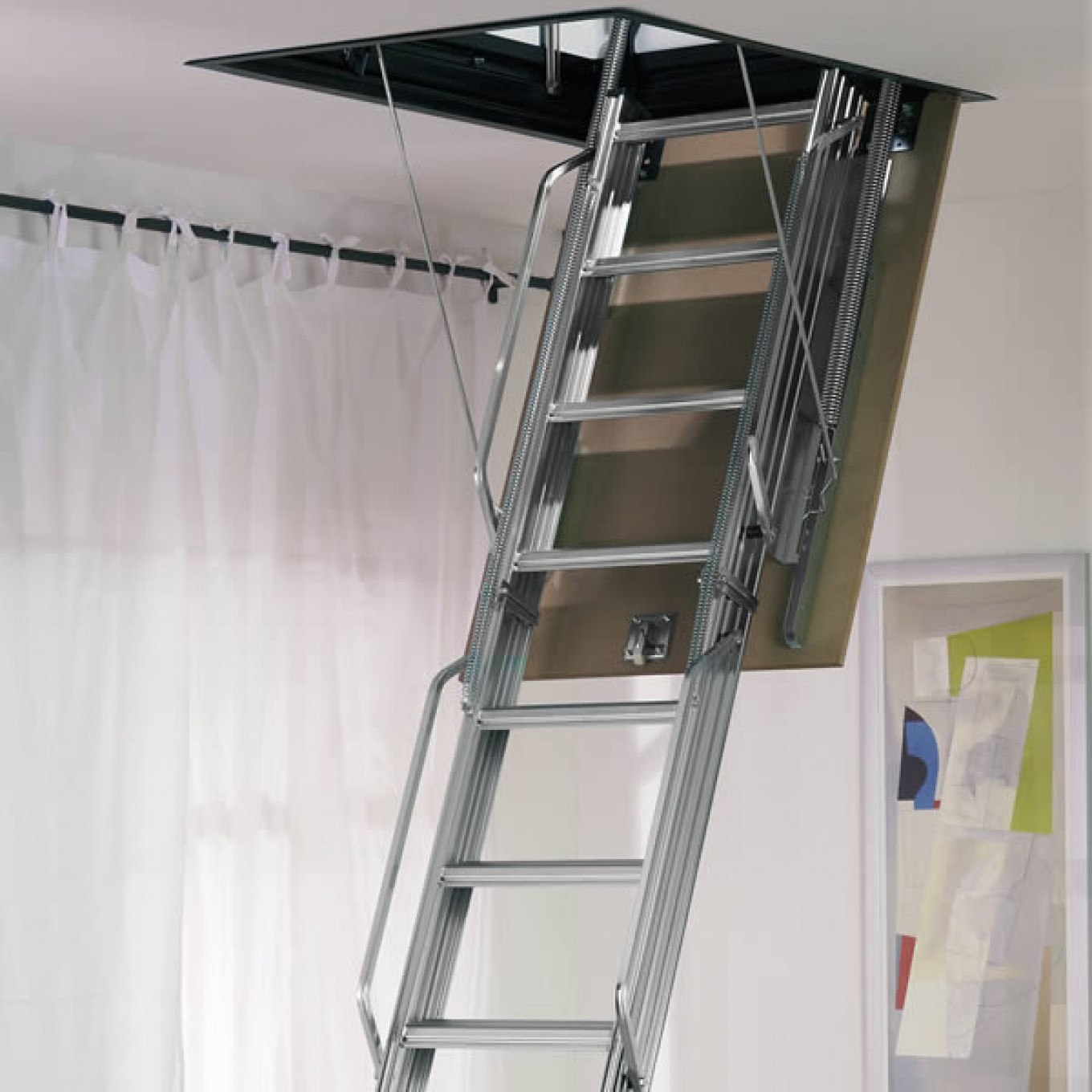 Dimes L3 Folding Steel Loft Ladder   3.00m Galvanised Steel   Loft Ladders  With Hatch   Loft Ladders Ladderstore.com