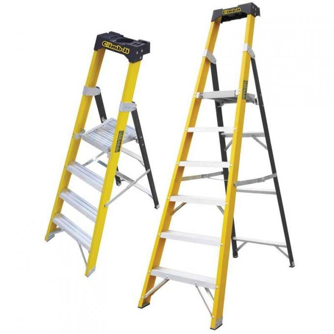 GPC Climb It Fibreglass Swing Back Step Ladder - 8 Tread