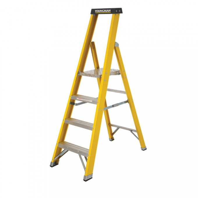 Catwalk S400 Glass Fibre Platform Stepladders - 4 Tread