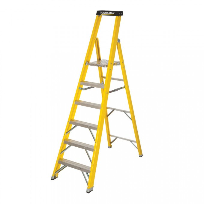 Catwalk S400 Glass Fibre Platform Stepladders - 6 Tread