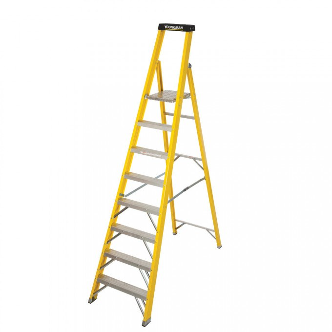 Catwalk S400 Glass Fibre Platform Stepladders - 8 Tread