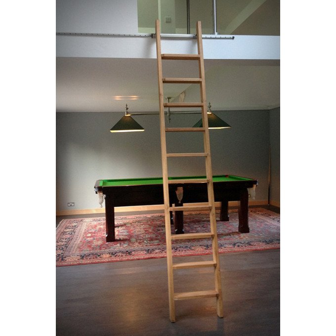 Rolling ladder provided to private residence for access to mezzanine floor