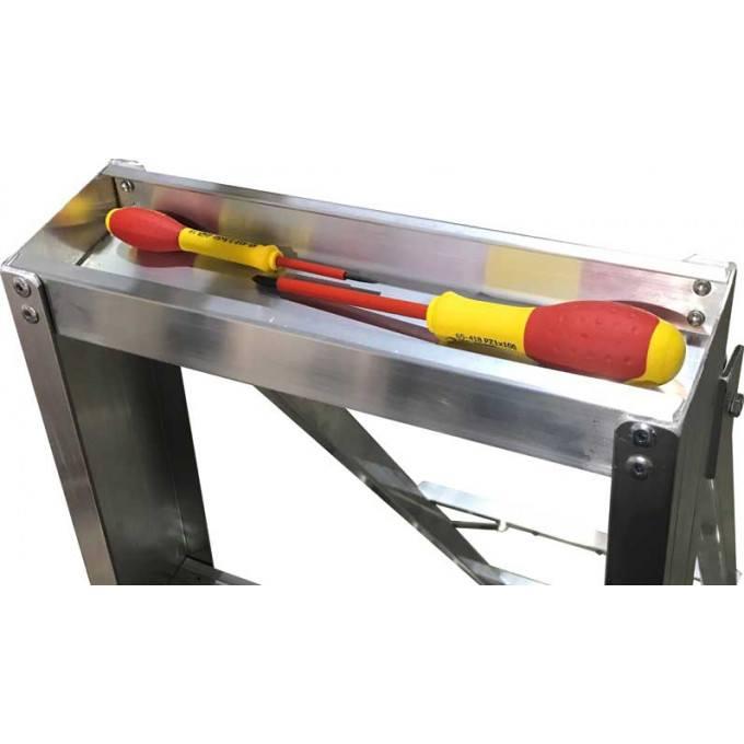 Heavy Industrial Platform Stepladders Tool Tray