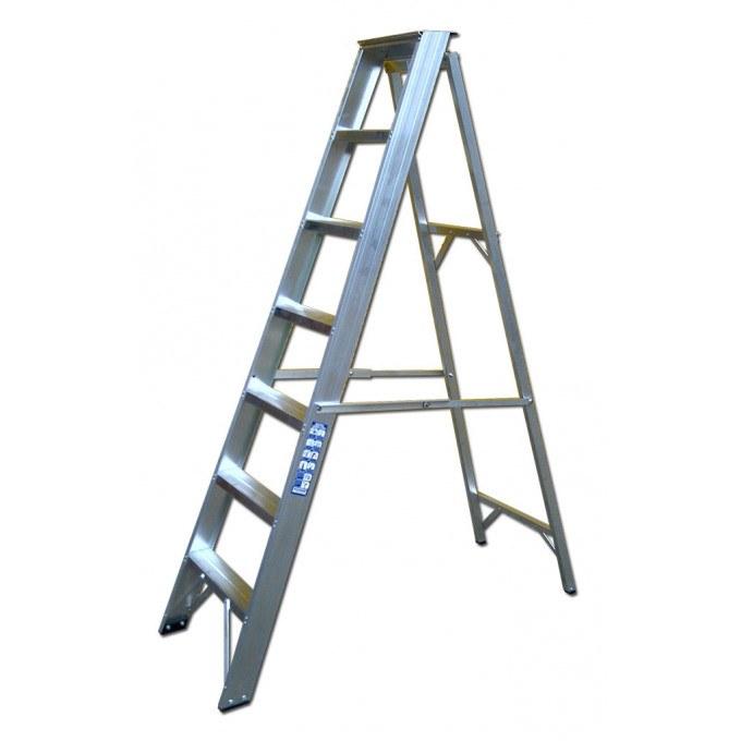 Heavy Industrial Swingback Stepladders - 8 Tread