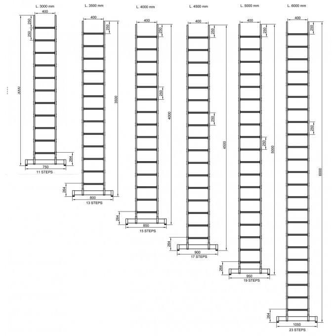 Fibreglass GRP Single Section Pole Ladder Dimension Sheet