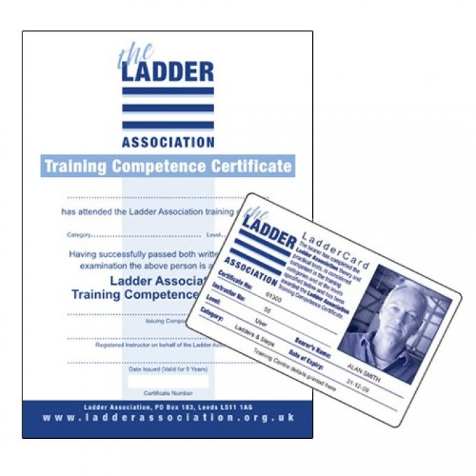 Ladder Association card and certificate from the Ladder Users & Inspectors Course