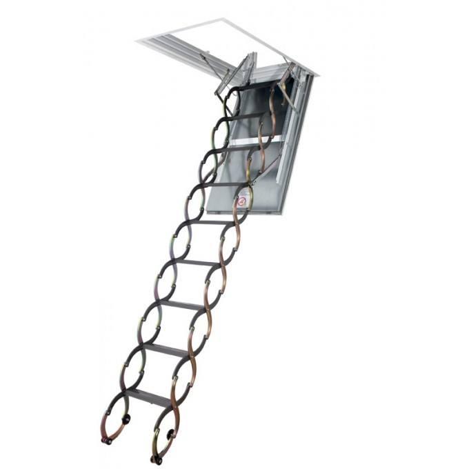 Fakro LSF Fire Resistant Scissor Style Loft Ladder With Hatch