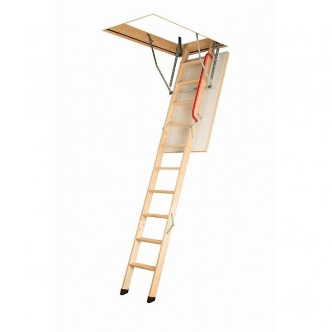 Fakro LWK 280 Komfort 3 Section Timber Loft Ladder With Handrail