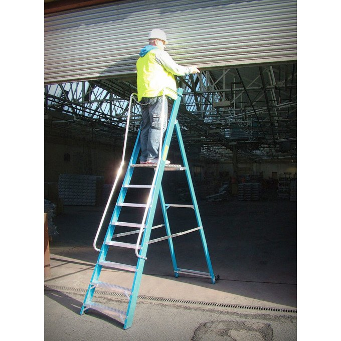 Lyte Glass Fibre Wide Stepladder with Handrails