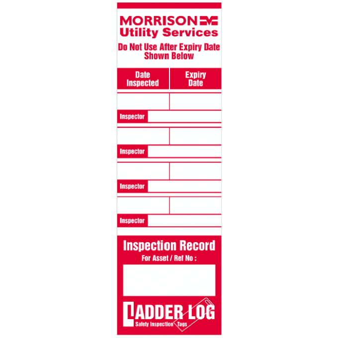 Personalised Ladder Log Tag for Morrison Utility Services