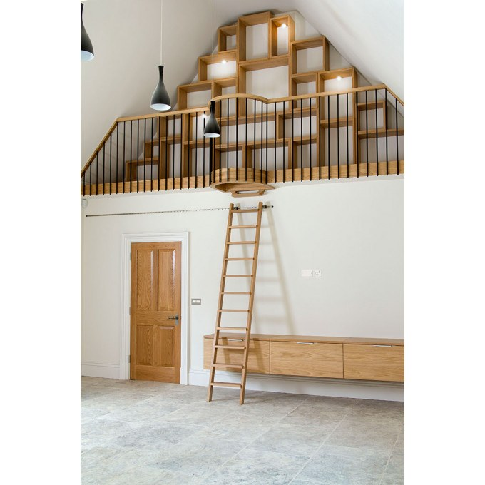 Rolling Ladder in vaulted area of kitchen from Peter