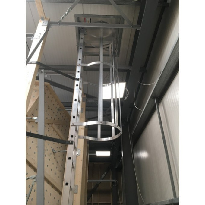 Fixed Vertical Ladder with Safety Cage In Use