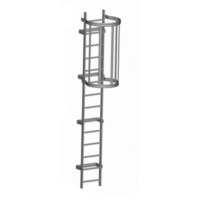 Zarges Fixed Access Ladder - Roof Hatch with Hoops