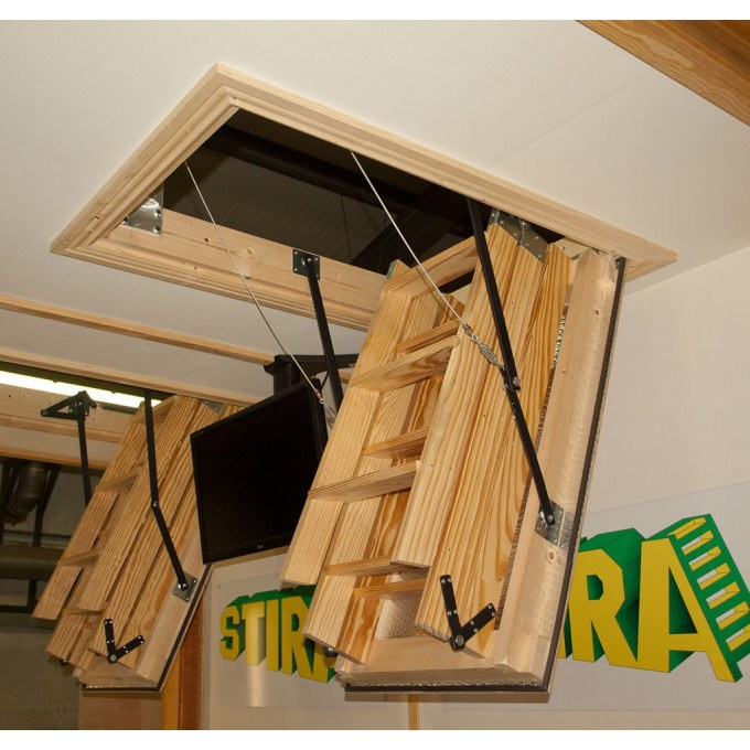 Stira Electric Timber Loft Ladders open