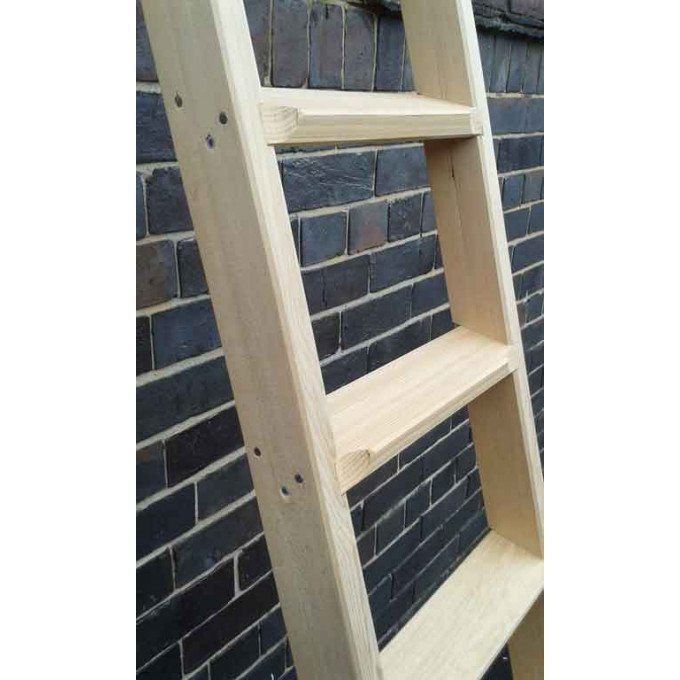 timber shelf ladder close up