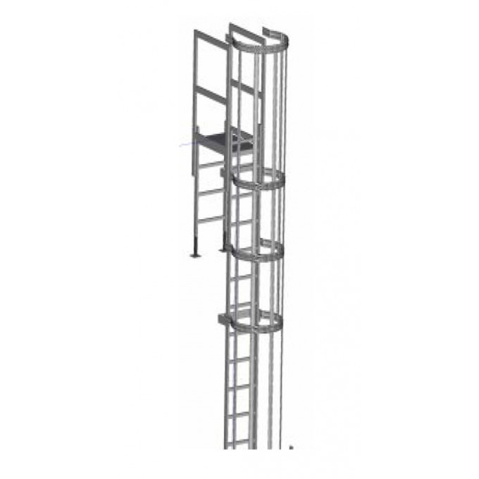 Zarges Fixed Access Ladder - Roof Parapet With Hoops & Crossover