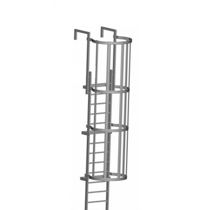 Zarges Fixed Access Ladder - Roof Access With Hoops
