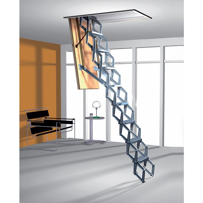 Zig Zag Heavy Duty Concertina Ladder with Trapdoor - 2.79 to 3.0 m