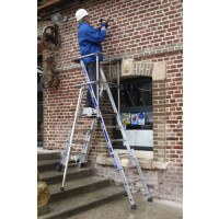 Zarges Sherpascopic Telescopic Work Platform Ladder - 7-9 Tread