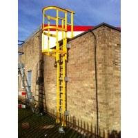 Fibreglass GRP Vertical Access Ladders with Walkthrough and Hoops