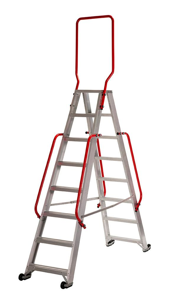 Werner Double Fronted Mobile Picking Step with Double Handrails