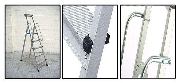 Zarges Z600 Anodised Step Ladders With Handrails