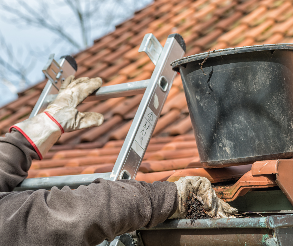 Ladder leaning against guttering
